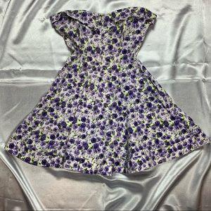 Betsey Johnson Strapless Floral Skater Dress